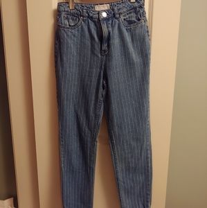 UO High waisted stripped jeans